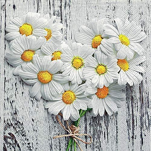 Linoows Serviettes 20 Pièce, Coeur Floral De Marguerites Dans Style Campagnard 33x33 CM