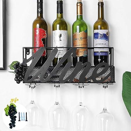 Tinyuet Casier à Bouteilles Mural, Porte Bouteille Vin Robuste et Facile à Installer, Porte-Bouteilles et Porte-Verre pour la Cuisine, Le Restaurant, la Cave à Vin et Le Bar-Wine