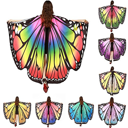 Costume Travestimento Scialle Ali Carnevale Farfalla Butterfly Wings Vestiti Danza Ballo Costumi Cosplay Poncho Shawl Mantello Donna Uomo Bambina Abbigliamento per Cerimonia Festa Halloween/Rosa Caldo
