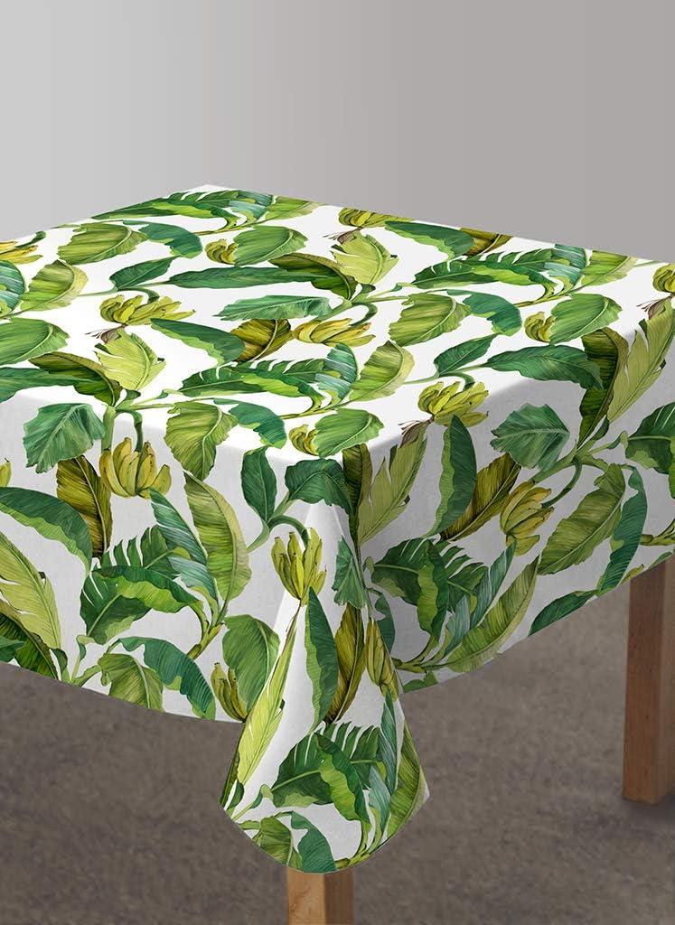 Vilber, Mantel de Tela confeccionado, Cuadrado, Resinado, con Tratamiento Antimanchas, Impermeable, Estampado Hojas. JAMAICA-R22. Color Verde