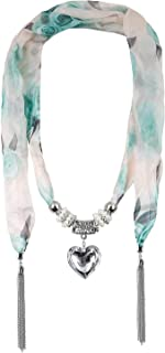 LERDU Gift Idea Green Flower Pattern Skinny Scarf Necklace for Women Long Heart Pendant jewelry Accessories Ladies