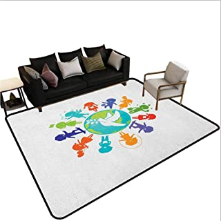 Youth Carpet mat Cute Children Silhouettes Around The World with Pigeon Symbol of Peace Earth Planet Area Bedroom Rug Multicolor 7'6x10'