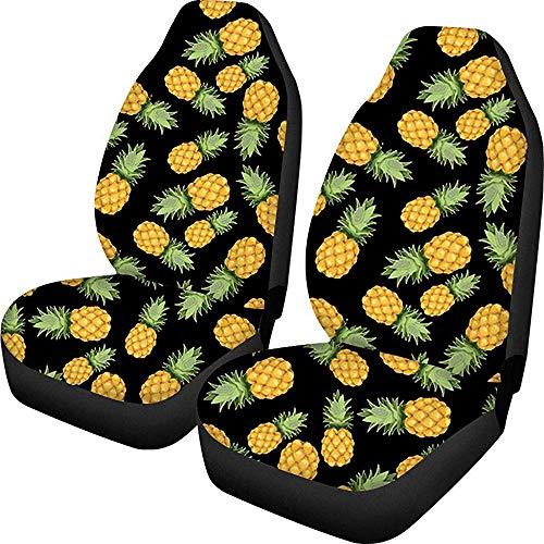 Autostoelhoezen in tropische stijl, ananasmotief, 2-delig, gemakkelijk te reinigen, 14-17 inch
