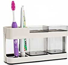 Zollyss 2 Cups Toothbrush Toothpaste Stand Holder Storage Organizer, Plastic