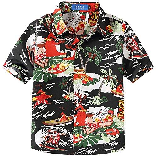 SSLR Bambini e Ragazzi Camicie Aloha Hawaiana Button Down Casual Stile Natale (Medium (9-11Anni), Nero)