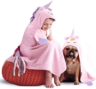 Unicorn Hooded Beach Towel - Toddler/Kids Bath Towels with Hood - Soft, Absorbent & Comforting for Girls, Large 47