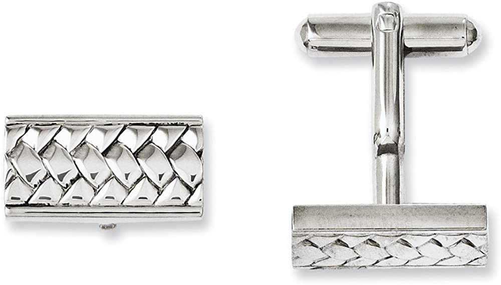 Solid Stainless Steel Men's Textured and Cufflinks - 18mm x 9mm