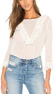Women's Long Sleeve Ruffle Shirt Blouse White Round Neck Polka Dot Blouse