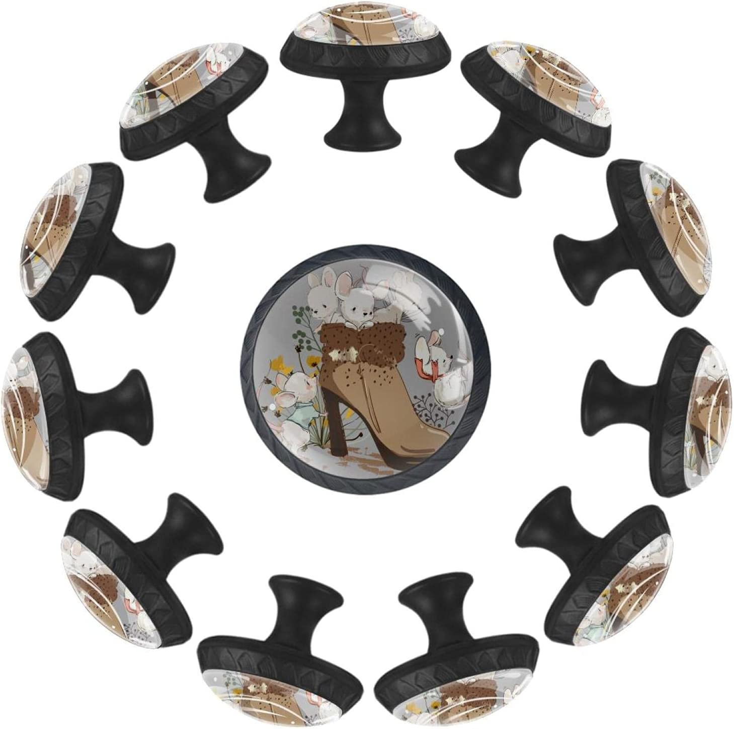 Cute Max 75% OFF Mouses in Max 77% OFF Boot 12PCS Round Cupboard Handle Drawer Pull Knob