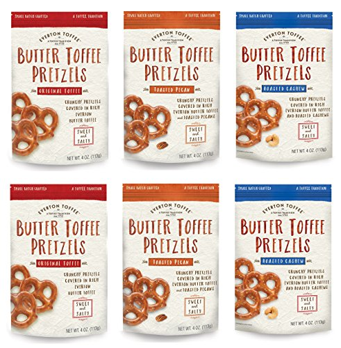 Everton Toffee Butter Toffee Pretzels, Variety Pack (4 oz. bag, 6-pack). Gourmet Artisan Toffee Covered Pretzels, Sweet and Salty Mini Pretzel Snacks, Small Batch Crafted