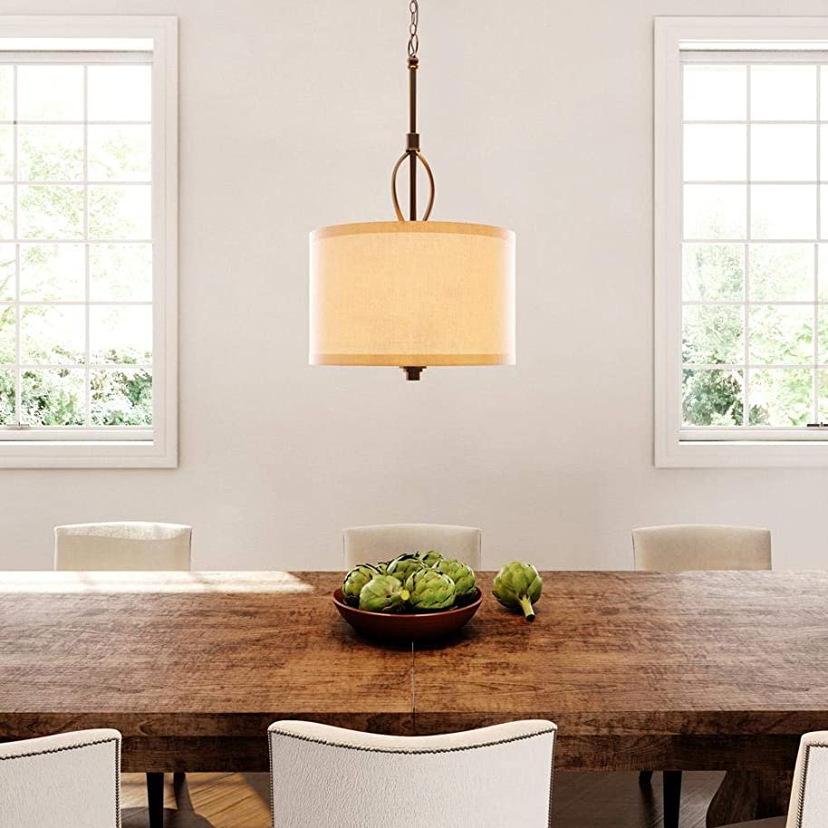 Hampton Bay 3-Light Oil-Rubbed Bronze and Burlap Shade Drum Pendant with Hardwire or Plug In Kit