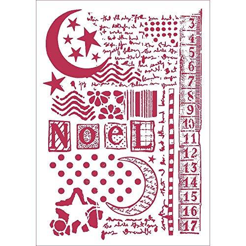 Stamperia Schablone Stern, Mond und Schreiben, 21 x 29,7 cm, Mehrfarbig, regulär