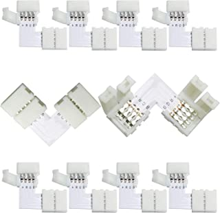 ToToT 10PCS L Shape LED Light Strip Connector 4 Pin for Connecting Corner Right Angle 10mm 5050 RGB LED Strip Light, Strip to Strip Jumper