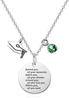 Graduation Gifts for Her Him Birthstone Pendant Necklaces High School Congrats Grad Jewelry