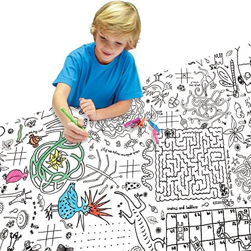 EggNogg Tischdecke zum Bemalen mit Rätsel-Motiven, Weiß