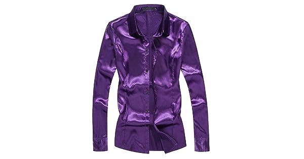 WSPLYSPJY Mens Button Down Shirt Shiny Satin Silk Hip Hop Dance Prom Shirts