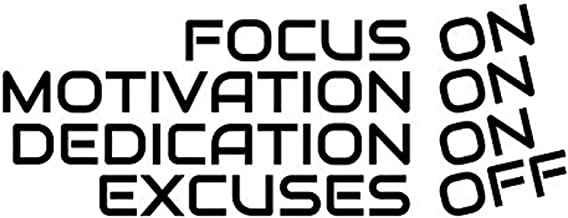 Wall Vinyl Decal Focus On Motivation On Dedication On Excuses Off Fitness Workout Exercise Hobby Sports Inspirational Motivation Quote Family Fun Love Decor Sticker Home Print WD8659