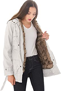 Dawwoti Women's Thickened Fur Jacket Hooded Thermal Casual Outwear