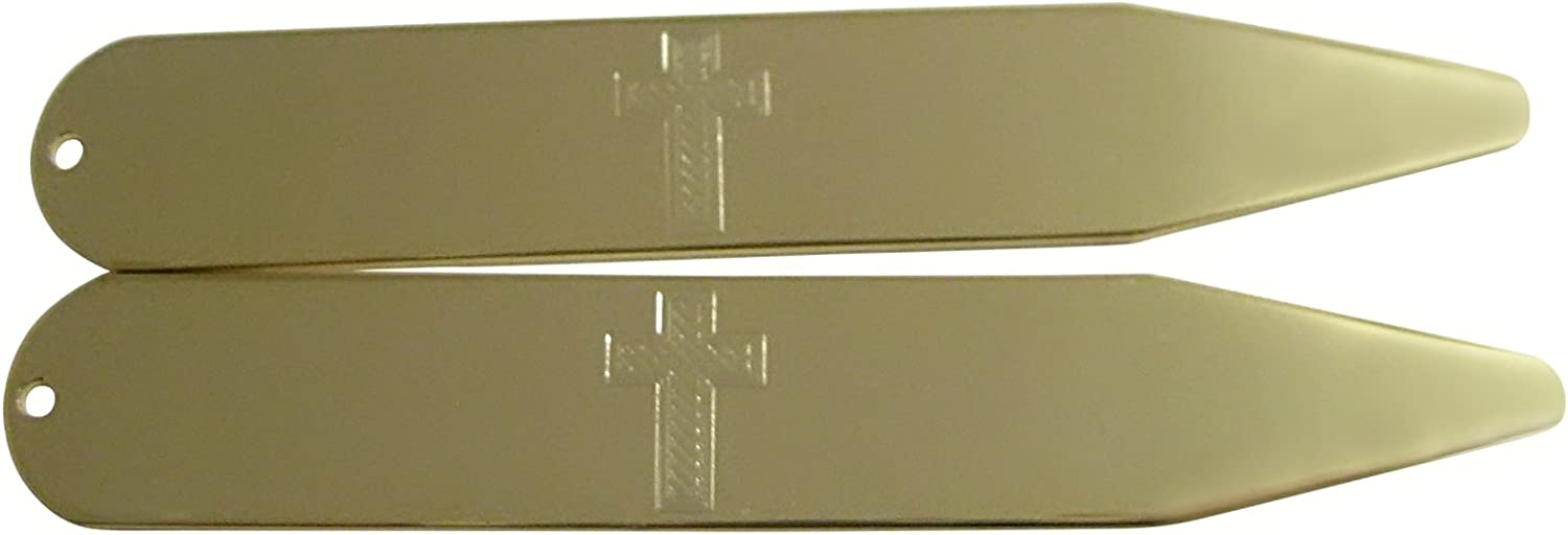 Gold Toned Etched Religious Cross Collar Stays