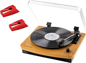 Record Player, JOPOSTAR 3-Speed Belt-Drive Turntable with Built-in Stereo Speakers, Vintage Style Record Player Support Vinyl-to-MP3 Recording, AUX RCA Headphone Jack with 2 Pack Needle