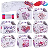 48 Sets Valentine's Day Treat Boxes DIY Color Your Own Owl Prints Boxes Goodie Bag Party Favor Boxes Valentines Container Candy Box with Heart Tags Bulk for Kids Girls School Classroom Supplies