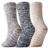Jormatt 3 Pairs Women Fuzzy Gripper Socks Non Skid Men Thick Cozy Slipper Hospital Socks with Grips,Men shoe size 7-12/Women size 8-13