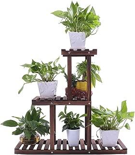 Ufine Wood Plant Stand Indoor Outdoor 3 Tier Vertical Carbonized Multiple Planter Holder Flower Ladder Stair Shelf Garden Balcony Patio Corner Pot Display Storage Rack