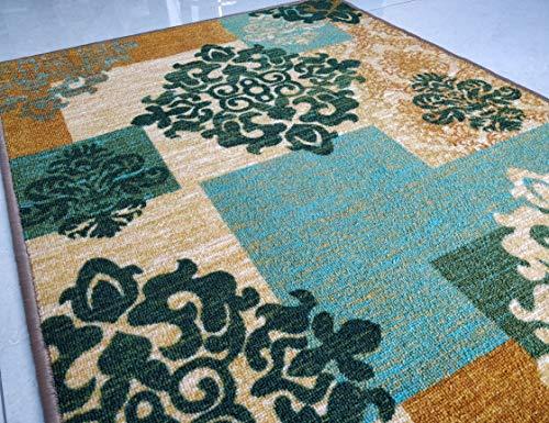 BuyElegant Green Decor Tapis antidérapant super absorbant 100 % polyester et envers en latex respectueux de l