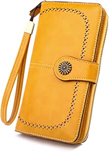 Vintage Style Genuine Leather RFID Blocking Large Capacity Wallet Organizer for Women(Yellow)