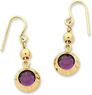 Bevilles 9ct Yellow Gold Silver Infused Purple Crystal Earrings GSE-P1076-01Y Drop