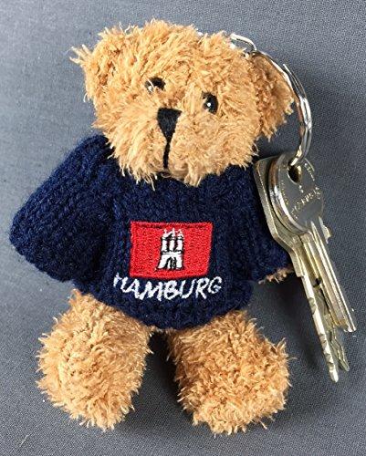 Buddel-Bini Versand Schlüsselanhänger Bär mit Hamburg Wappen Pullover Stofftier Teddybär Teddy