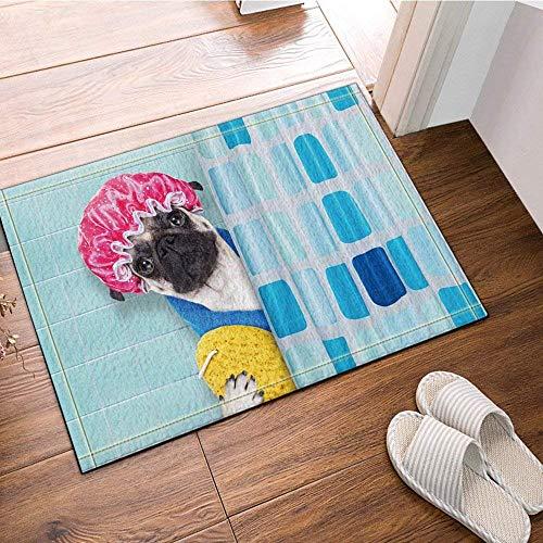 HYTCV Blue Tiles, Blue Checkered Curtains, Black Pug, Red Shower Cap, Yellow Bath Towel, Blue Pajamas Bathroom mat outdoor indoor non-slip mat