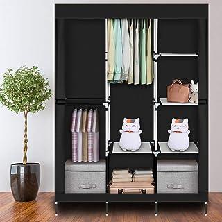 GlobalDeal Direct Armoire en tissu - Rangement temporaire pour vêtements avec 8 étagères et penderie - Noir