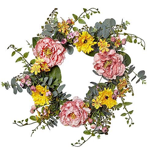 VGIA 20 Inch Artificial Peony Flower Wreath Silk Spring Wreath for The Front Door, Wall Hanging Window Wedding Party Decoration