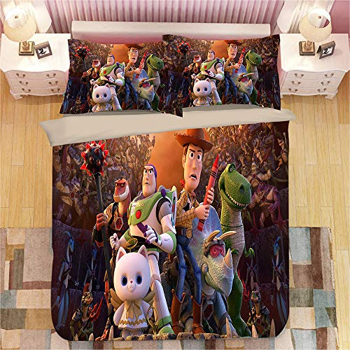 Gvvaceo Bedding Sets 3D Super kingsize sets 260 x 230 cm Printing Duvet Cover for Girl Comforter Bedding Sets King Queen Size Bed Line + 2 Pillowcase 50 X 75 cm Cartoon anime character christmas be