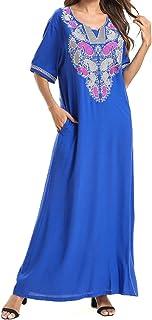 Qianliniuinc Abaya Dubai Islamic Cotton Maxi - Women Arabic Short Sleeves Dresses Kaftans Jalabiya Clothing Muslim Robe Ca...