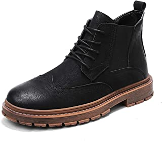 2019 New Arrival Men Boots Ankle Boots for Men High Top Casual Individuality Stitching Carved Brogue Lace Up Fashion Durable Microfiber Upper Men' S Boots