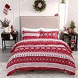 Bedsure Christmas Duvet Cover Set, Queen Christmas Bedding - Festive Printed Pattern - Soft Microfiber Comforter Cover, 3 Pieces Bedding with 1 Duvet Cover (No Comforter Insert), 2 Pillow Shams