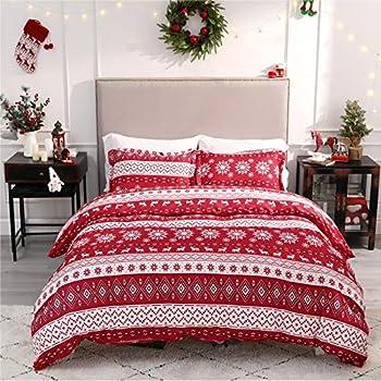 Bedsure Christmas Duvet Cover Set King Christmas Bedding - Festive Printed Pattern - Soft Microfiber Comforter Cover 3 Pieces Bedding with 1 Duvet Cover  No Comforter Insert  2 Pillow Shams