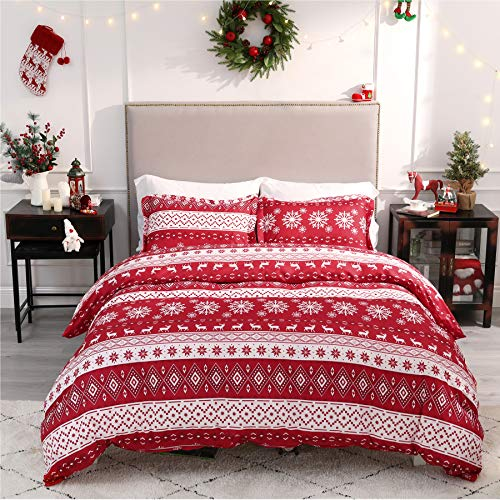 Bedsure Christmas Duvet Cover Set, Twin Christmas Bedding - Festive Printed Pattern - Soft Microfiber Comforter Cover, 2 Pieces Bedding with 1 Duvet Cover (No Comforter Insert), 1 Pillow Shams