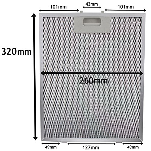 SPARES2GO Metalen gaasfilter voor Samsung afzuigkap/afzuigkap Ventilator (zilver, 320 x 260 mm)