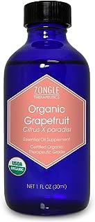 Zongle USDA Certified Organic Grapefruit Essential Oil, USA, Safe to Ingest, Citrus X Paradisi, 1 OZ