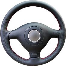Funda para volante de coche de piel negra brillante para Volkswagen VW Golf 4 Passat B5 1996-2003 Skoda Fabia RS 2003 Polo 1999-2002 Seat Leon 1999-2004.