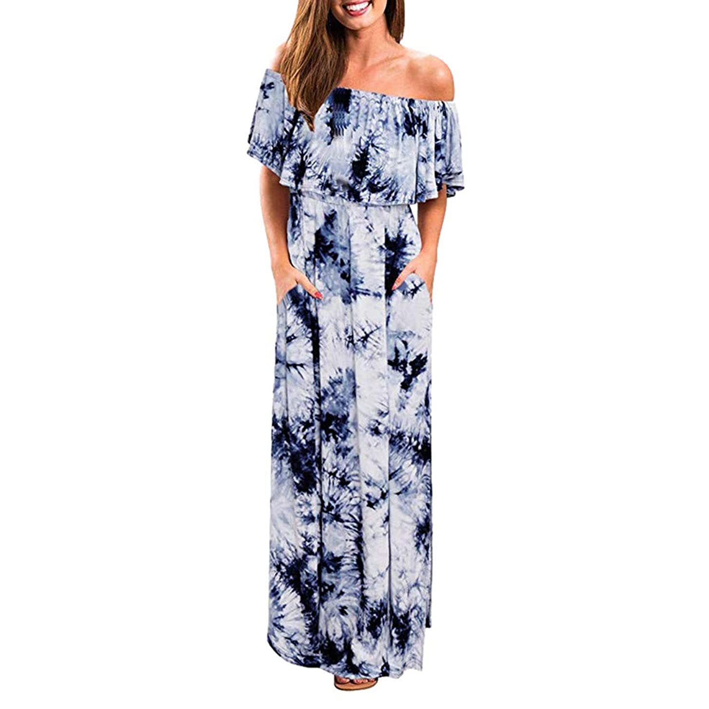 Womens Off The Shoulder Ruffle Party Dresses Side Split Beach Maxi Dress Tie Dye Split Maxi Long Dress Sundress