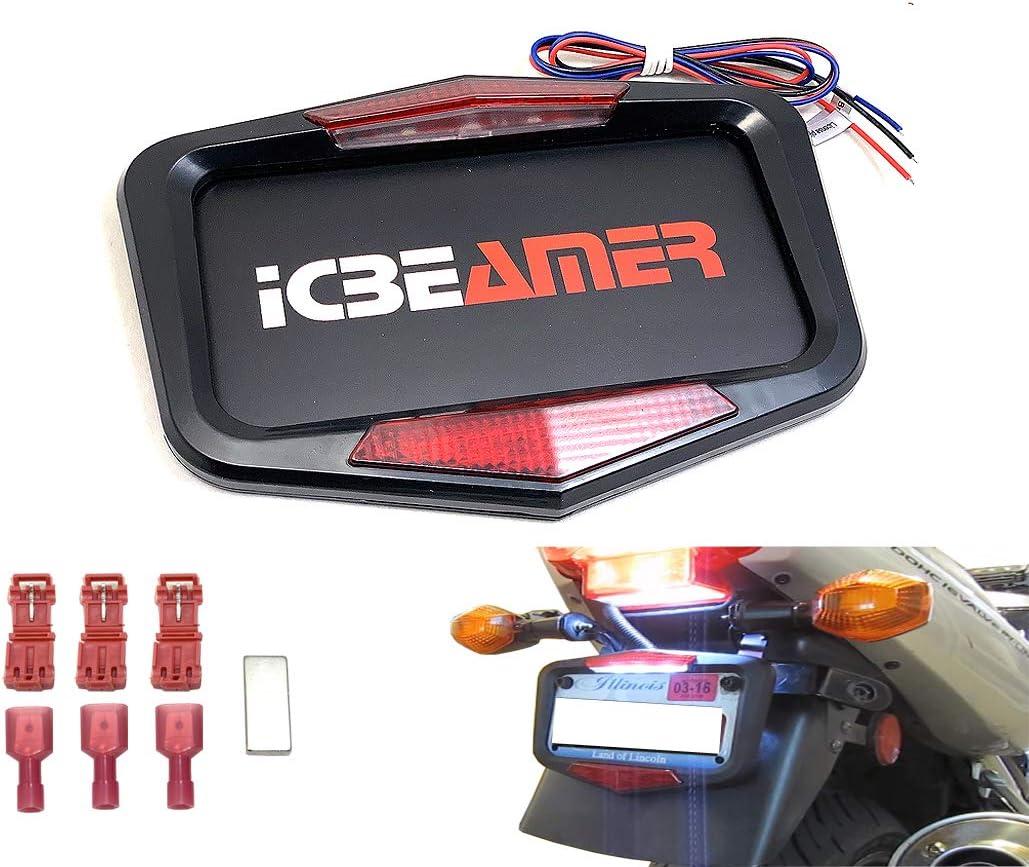 ICBEAMER Waterproof Product Motorcycle SALENEW very popular! License Plate 6+ w Flashin Frame
