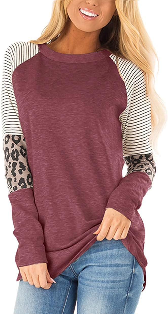 MIMIGOGO Women's Short Sleeve Color Block Tunics Stripe Leopard Cute Shirt Round Neck Casual Tops