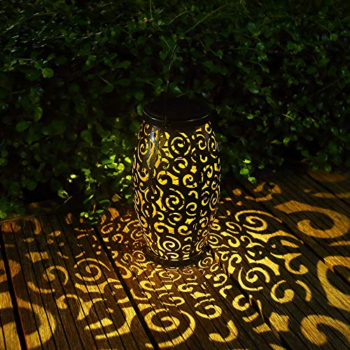 GLAMOURIC Solar Lantern Lights Garden Hanging Lantern with Handle Retro Metal Waterproof LED Landscape Lights for Patio and Yard (Bronze)