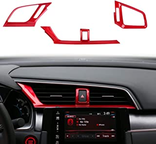 CKE Civic ABS Center Consoles Air Vent Wind Outlet Decoration Cover Trim Sticker for 10th Gen Honda Civic 2020 2019 2018 2017 2016 - Red (3pcs)