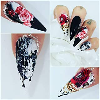 12 sets Day of the dead dia de los muertos BOHEMIAN FLOWER CHILD HIPPY SUGAR SKULLS halloween pin up girl nail decals gothic decor nail stickers natural manicure decorations acrylic nail art