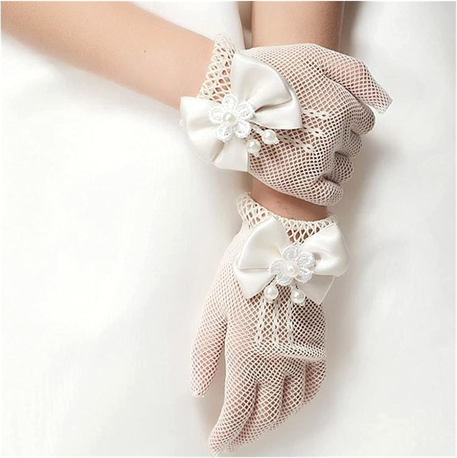 CHHNGPON Bridal Gloves Girls Mesh Bow Lace Pearl Decoration Gloves Party Supplies Children Birthday Ceremony Coronation Accessories Gift Mittens